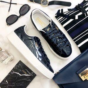 Puma Navy Patent Flatform Sneakers